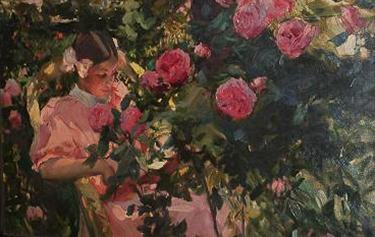 Elena entre Roses by Sorolla