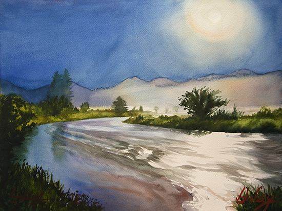 watercolor of moonlight in Rocky Mountains by John Hulsey