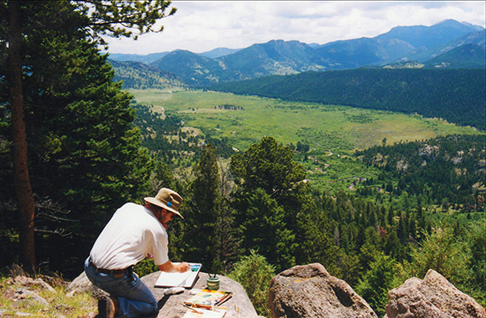 Photo of John Hulsey painting in RMNP