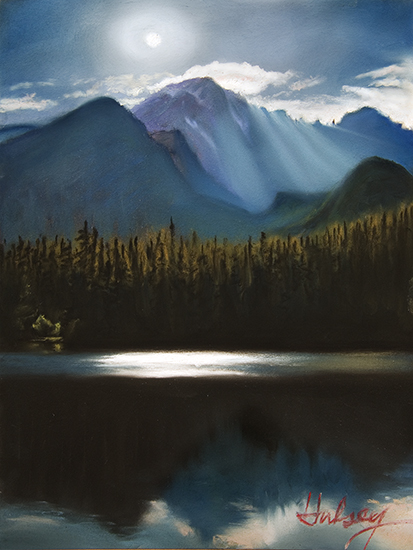 Plein air pastel painting of moonlight on Bear Lake, Rocky Mountain National Park, Colorado, by John Hulsey