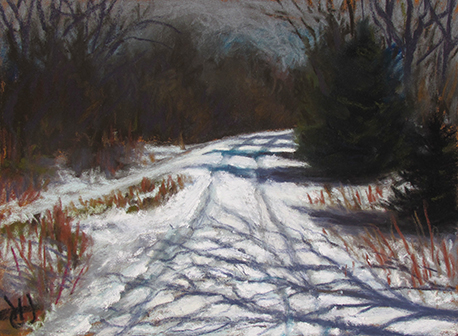 pastel painting of winter night by John Hulsey