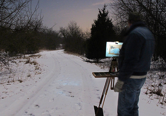 Photo of John Hulsey painting plein air pastel at night, by Ann Trusty