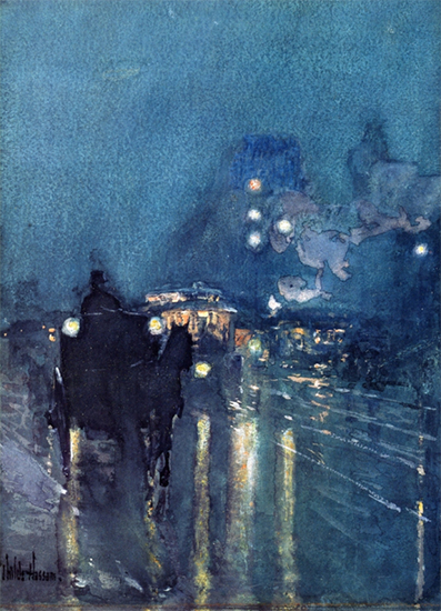 Nocturne, Railway Crossing, Chicago, 1892-93, Childe Hassam