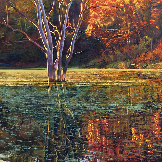 "On the Pond II, 36 x 36"", Oil, © John Hulsey"