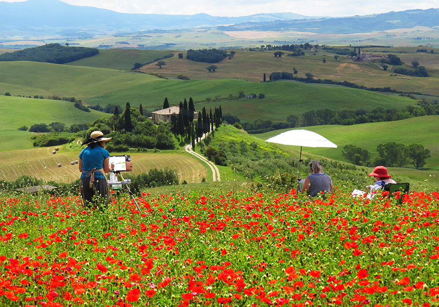 Photograph of Students Plein Air Painting in Tuscany © J. Hulsey