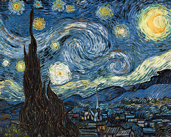 oil painting of a starry night by Vincent van Gogh