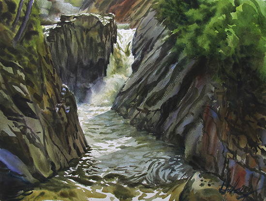 The Flume watercolor by John Hulsey