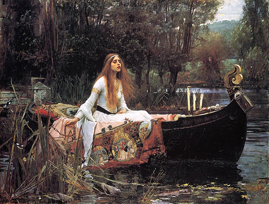 oil painting of the lady of shalott by J.H. Waterhouse 1888