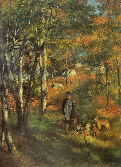 The Painter Jules Le Coeur and his dogs in the forest of Fontainebleau, 1866, Pierre Auguste Renoir
