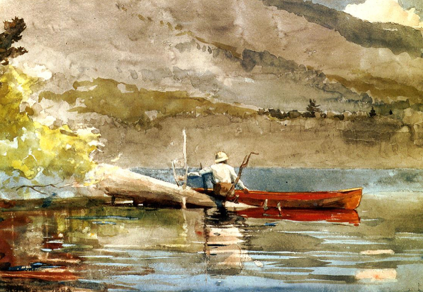 The Red Canoe watercolor by Winslow Homer
