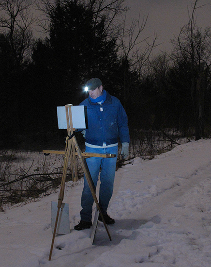 Photo of John Hulsey painting plein air at night, by Ann Trusty
