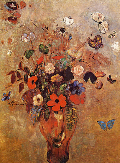 Vase with Flowers and Butterflies by Odilon Redon