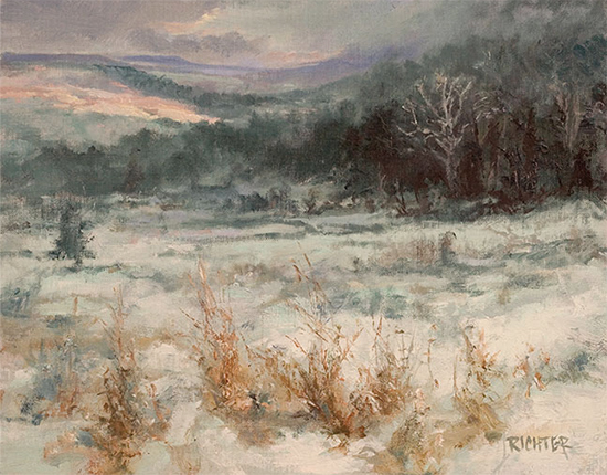 "Winter Bottomland - Sycamore Snow, 11 x 14"", © Matthew Richter"