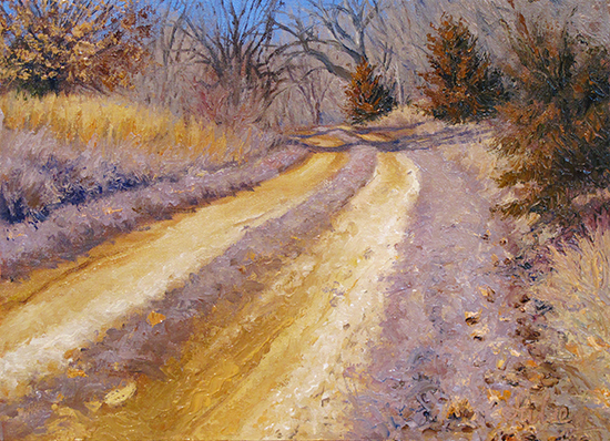 oil painting of country road, by John Hulsey