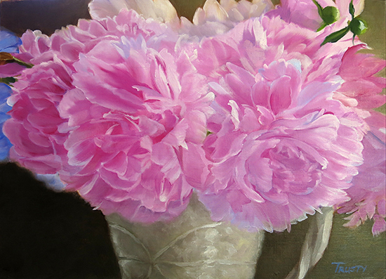 Peony Love Affair, Oil Painting, © A. Trusty