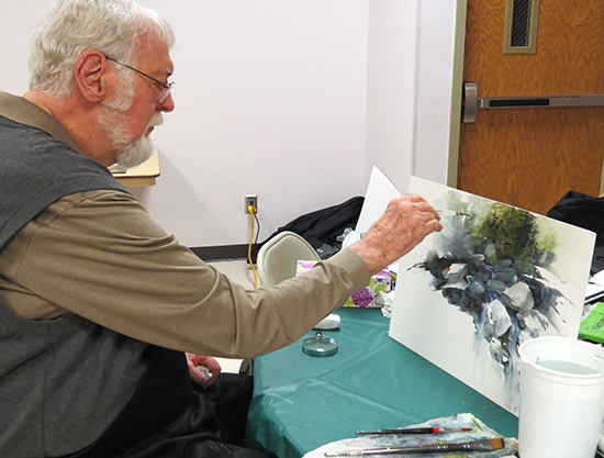 Mort Solberg Works Vertically on a Watercolor