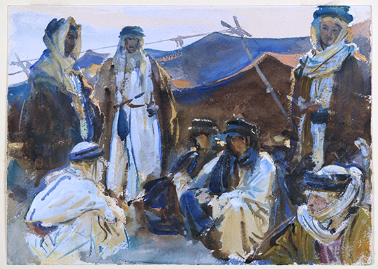 watercolor of Bedouin and tent by John Singer Sargent.