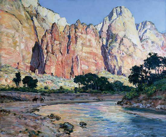 oil painting of western landscape, Howard Russel Butler