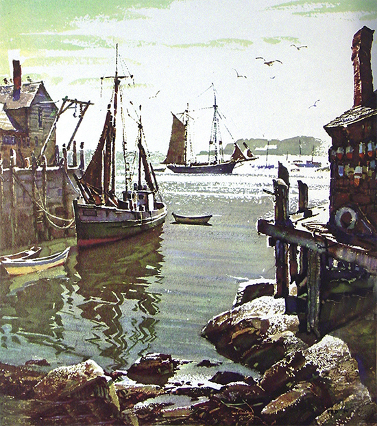watercolor painting of harbor, wharf and boats, by Ted Kautzky.