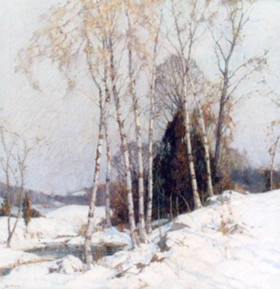oil painting of birch trees in winter, by Frederick Mulhaupt