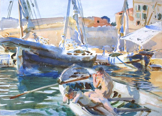 watercolor painting of sailboats by John Singer Sargent