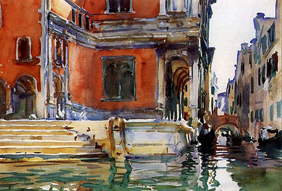 watercolor of a school on a canal in Venice by Sargent.
