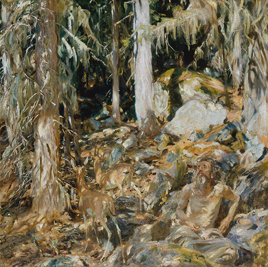 Oil painting of a hermit in olive groves, by sargent
