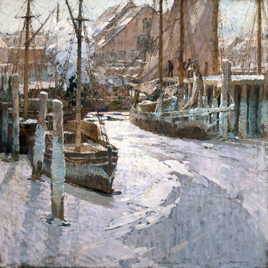 oil painting of boats in harbor, by Frederick Mulhaupt