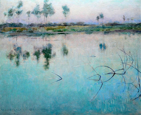 Reflections at Grez sur Loing, 1884, Willard Leroy Metcalf