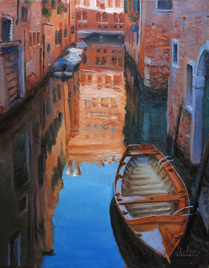 Oil Sketch on Panel, Reflection, Venice. ©J. Hulsey