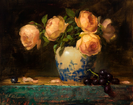 Lady of Shallot Roses with Flow Blue by Elizabeth Robbins