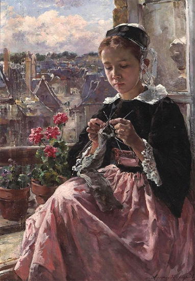 A Young Breton Girl Knitting by a Window, Marie Lucas Robiquet