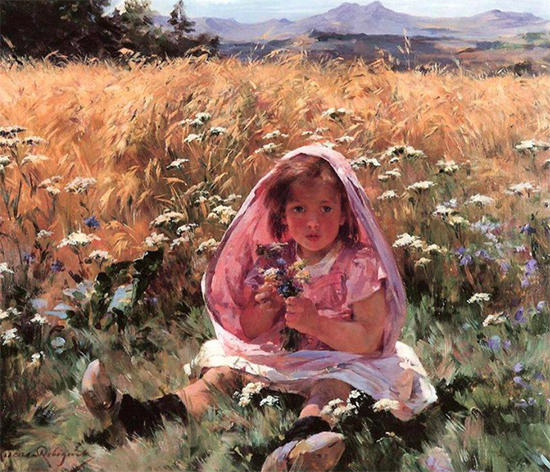 Little Girl in a Field of Barley, Marie Lucas Robiquet