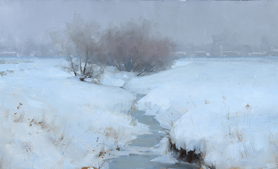 "Winter Creek, 12 x 20"" Oil, © David Santillanes"