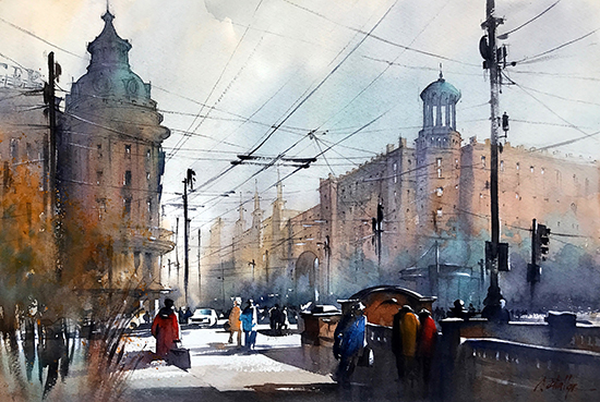 "Winter Light -  Moscow, 18 x 24"", WC, © Thomas Schaller"