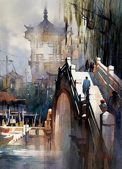 "Bridge - China, 23 x 16"", WC, © Thomas Schaller"