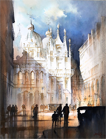 "Courtyard, Doges Palace - Venice, 30 x 22"", WC, © Thomas Schaller"