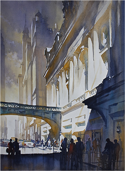 "Grand Central Light - NYC, 30 x 22"", WC, © Thomas Schaller"