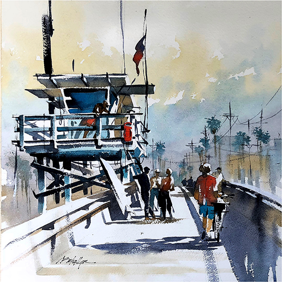 "Morning - Venice Beach Pier, 14 x 14"", WC, © Thomas Schaller"