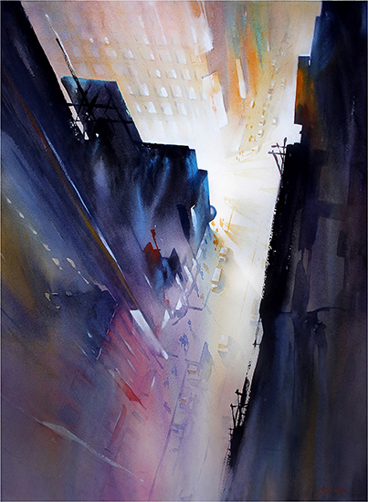 "Night in the City, 30 x 22"", WC, © Thomas Schaller"