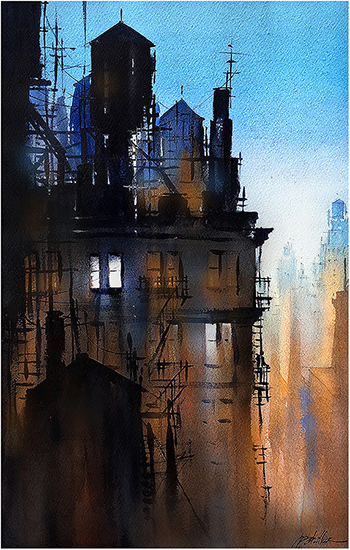 "The World was Quiet, 22 x 15"", WC, © Thomas Schaller"