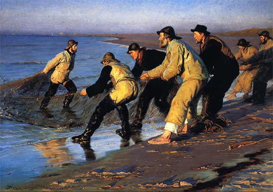 Fishermen Hauling the Net on Skagen's North Beach, 1883, Peder Severin Kroyer
