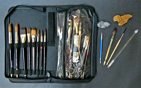 Photo of watercolor brushes. © J. Hulsey