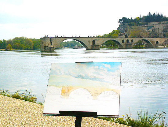 Photo of Watercolor plein air painting Le Pont d'Avignon, by John Hulsey