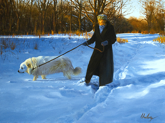 oil painting of woman and Great Pyrenees in snow, by John Hulsey