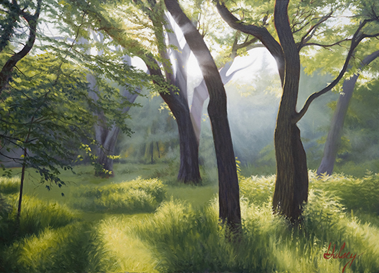 Oil Painting of Light Through Meadow © John Hulsey