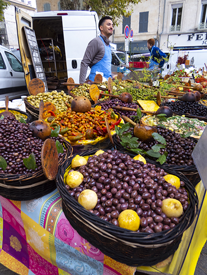 Photo of the market in St. Remy, France.© J. Hulsey