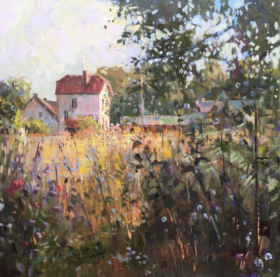 """Oil Painting of a French Village, 30 x 30"""",Oil, © Nancy Tankersley"""