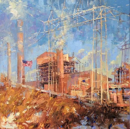 """Oil Painting - Power Play, 20 x 20"""", Oil, © Nancy Tankersley"""