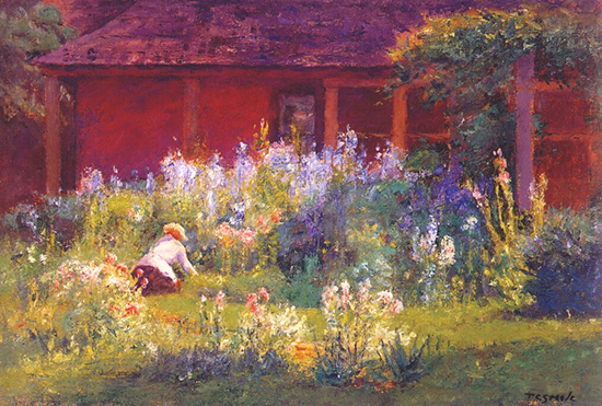 Oil Painting of the garden by T. C. Steele